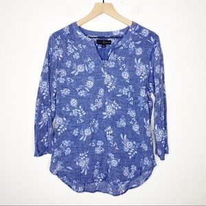 Fred David Chambray Blue Floral Popover Blouse